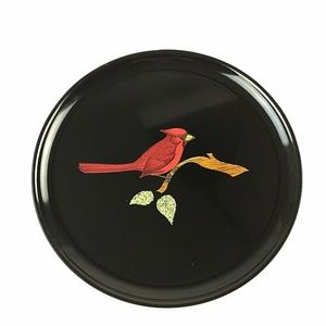 "Other - Couroc Round Tray Cardinal on Branch 10"" Vintage"